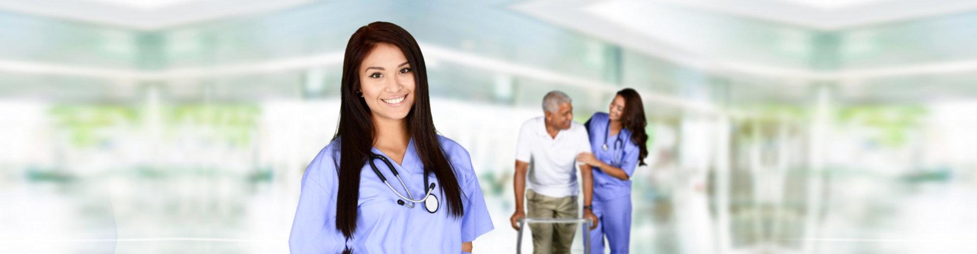 nurse woman helping senior man